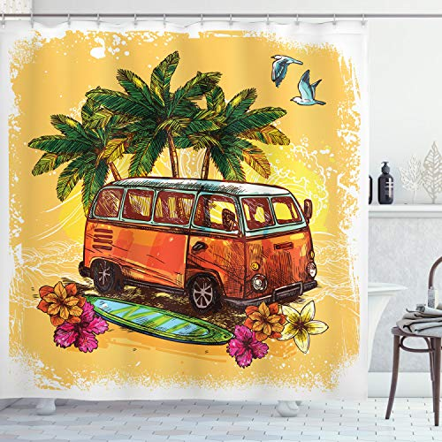 """Ambesonne Surf Shower Curtain, Hippie Classic Old Bus with Surfboard Freedom Holiday Exotic Life Sketchy Art, Cloth Fabric Bathroom Decor Set with Hooks, 70"""" Long, Yellow Orange"""