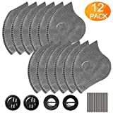 AstroAI 12 PCS Activated Carbon Filter Replacement Set for Reusable Face Dust Masks, with 4 Breathing Valves and 12 Soft Nose Pads, Fitting for Most Mask in Market