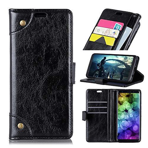 LBMXQ - Funda de piel con tapa para iPhone XR (textura de napa, horizontal, con tarjetero, tarjetero), color negro