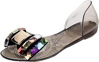 Women Summer Bling Bowtie Peep Toe Jelly Sandal Flat Shoes