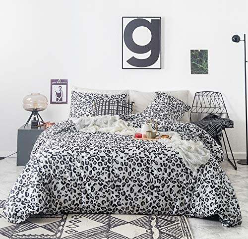SUSYBAO 3 Piece Duvet Cover Set 100% Cotton King Size Black and White...