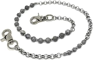 KUSTOM FACTORY - Catena a portafoglio in acciaio inossidabile e perla grigia