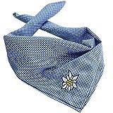 dressforfun 900820 Trachtentuch Edelweiß, kariert,verwendbar als Halstuch, Kopftuch oder Armtuch, für Oktoberfest & Trachten Party - Diverse Farben - (Blau | Nr. 303241)