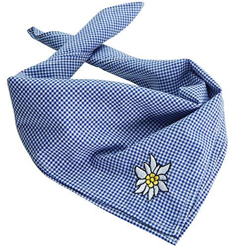 dressforfun 900820 Trachtentuch Edelweiß, kariert,verwendbar als Halstuch, Kopftuch oder Armtuch, für Oktoberfest & Trachten Party - Diverse Farben - (Blau   Nr. 303241)