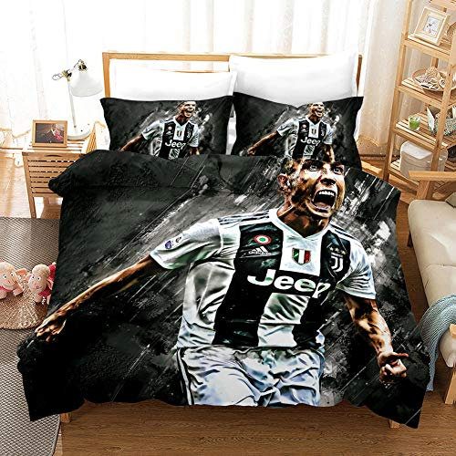 Duvet Cover double bed 200x200 cm Ronaldo Bedding 3 Piece set + 2 Pillowcases 50x75 cm Soft Microfiber Quilt Cover Set with Zipper for Adult and child beds