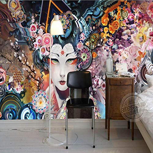 QJCBH Self-Adhesive 3D Wallpaper (W) 450X (H) 300Cm 3D Murals Japanese Geisha Photos Wallpaper Retro Wallpaper Room Decoration Office Bedroom Interior Design