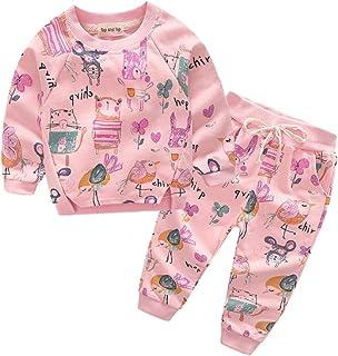 Top and Top Girl Autumn Cute 2pcs Cartoon Prined Sweatshirts Tops+Pants Kids Clothing Set