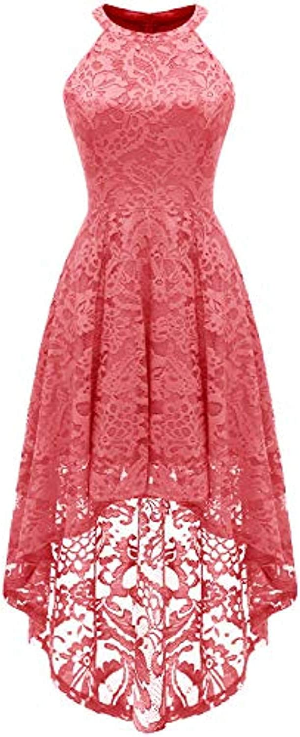 Dress European and American Women's Medium and Long Section Hanging Neck Sleeveless Cocktail Dress Irregular Lace Dress