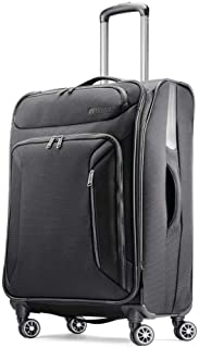 American Tourister Zoom Softside Luggage with Spinner Wheels, Black, Checked-Large 28-Inch
