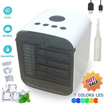 Blanc Miaogo Mini Air Cooler 3 EN 1 R/églable Air Climatiseur Humidificateur Purificateur 7 LED Couleurs pour Maison//Bureau//Camping