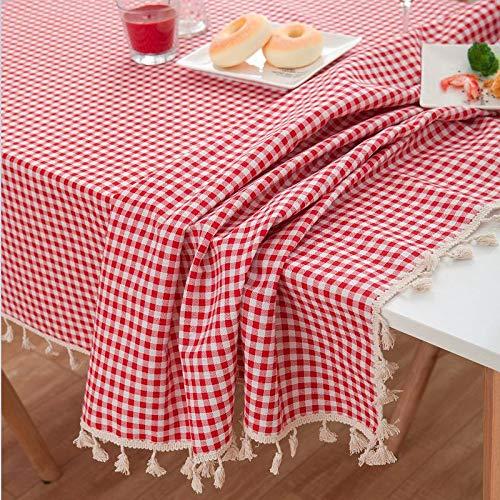 Mantel de Tela Escocesa roja para Boda, Mantel Rectangular de Lino de algodón Pastoral con decoración de borlas, Mantel de Cocina para el hogar, D 140x240cm