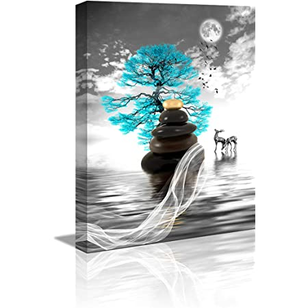 Amazon Com Wall Art For Living Room Simple Life Blue Moon Tree Landscape Abstract Painting Office Wall Decor 12 X 16 Single Pieces Canvas Prints Ready To Hang For Home Decoration Black And