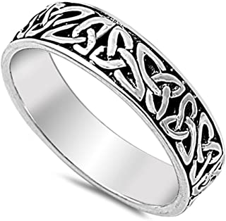 Oxidized Celtic Infinity Knot Wedding Ring .925 Sterling Silver Band Sizes 5-14