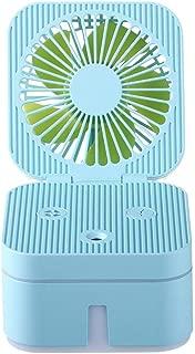 SHANGRUIYUAN-Mini Fan Foldable Mini Multifunction Fan Cute Square Shape Fan USB Rechargeable Summer Fan Portable 3 Speed Fan (Color : Blue)