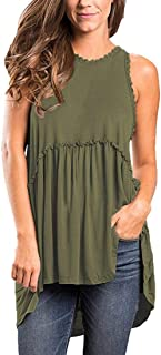 OURS Women's Casual Zip up Back Lace Hem Sleeveless Tank Shirts Blouse Tops