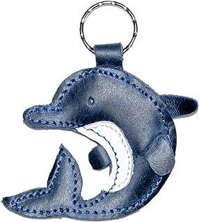 Leather Keychain Dolphin/Ring/Charm/Key Holder/Sea Animal/Ocean/Cute, Handmade Includes 101 Year Warranty :: Slate Blue