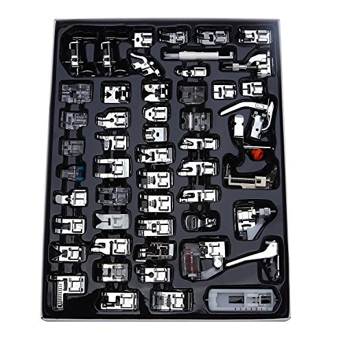 Aiskaer Professional 52pcs Sewing Machine Presser Feet Set for Brother, Babylock, Singer, Janome, Elna, Toyota, New Home, Simplicity, Kenmore, (52 Pieces)