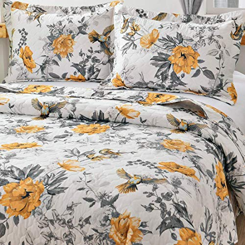 VITALE 3 Pieces King Size Bedspreads Coverlet Set,Vintage Floral Birds Quilts King with King Pillow Shams,Lightweig   ht Bedspread Chinese Painting Countryside Blanket-Yellow White