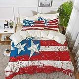 ropa de cama - Juego de funda nórdica, decoración de la bandera americana, cultura bandera Solidaridad de EE. UU. Stars Inspiration Retro Royalty Artw, juego de funda nórdica de microfibra hipoalergén