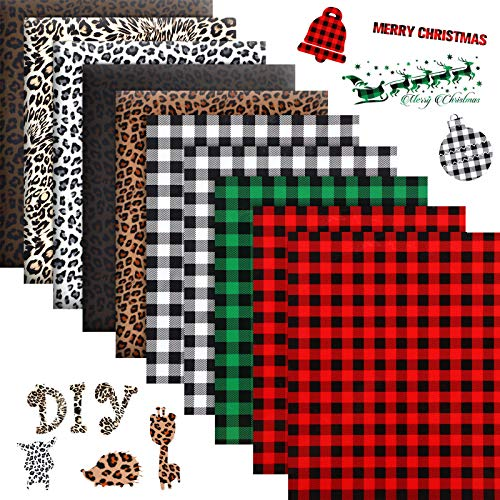 10 Sheets Christmas HTV 12 x 10 Inch Buffalo Plaid Iron-on Vinyl Leopard Print Heat Transfer Vinyl Assorted Animal Patterned HTV Sheets for DIY Hats T-Shirts Fabric Crafts, 8 Patterns
