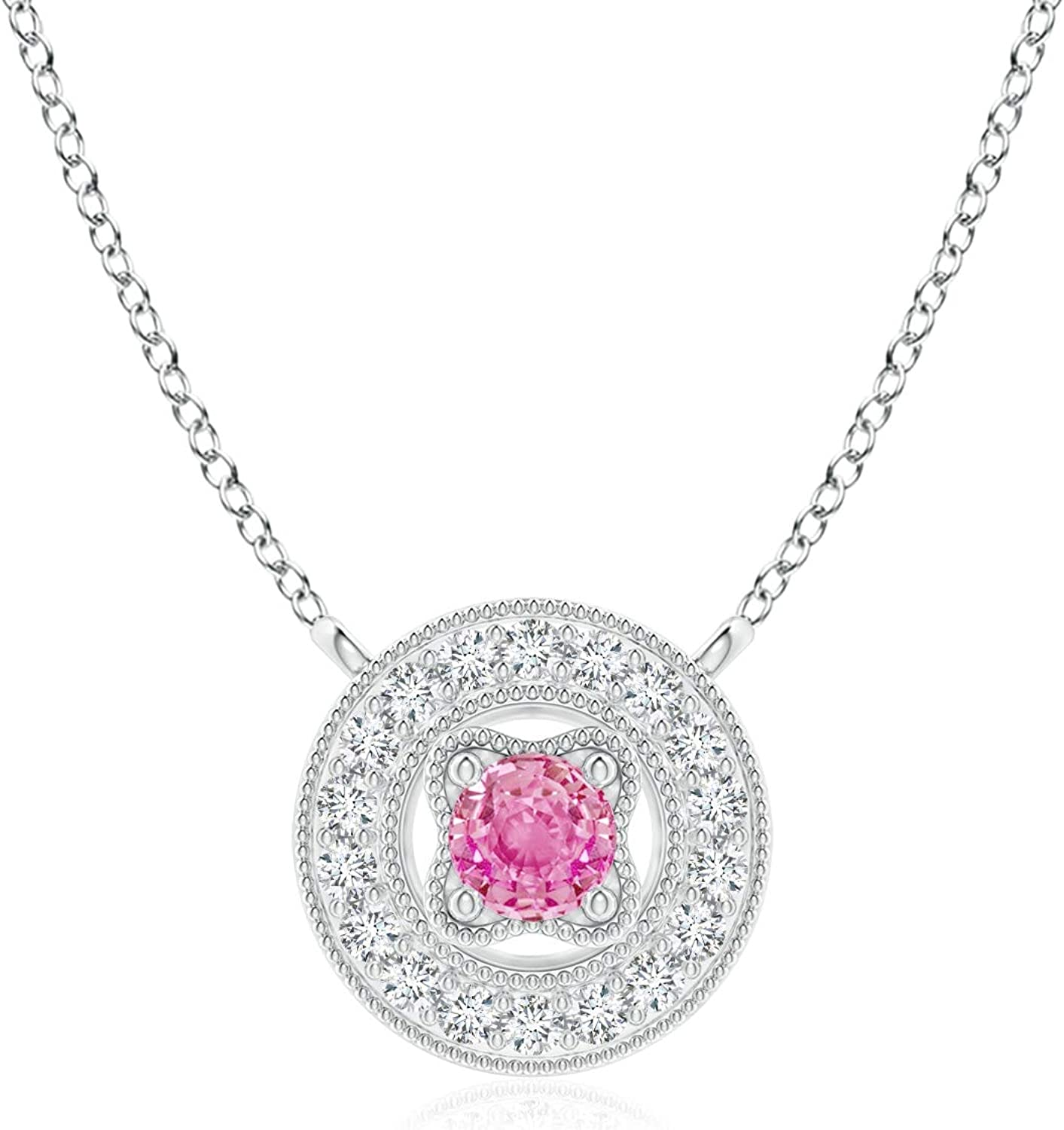 Vintage Style Pink Sapphire Halo Pendant Don't Cheap sale miss the campaign 14K Wh in with Milgrain