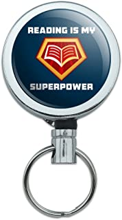 Reading is My Superpower Heavy Duty Metal Retractable Reel ID Badge Key Card Tag Holder with Belt Clip