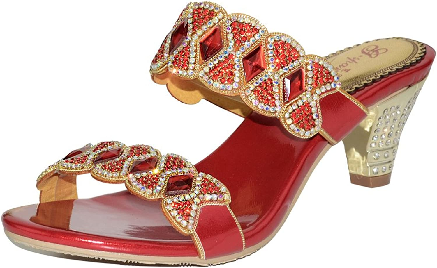 C&C Women's Genuine Leather Crystal Sandal Fashion Slippers