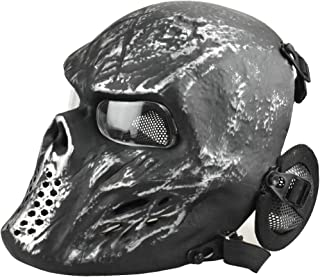 JFFCESTORE Tactical Airsoft Mask, Full Face pc Clear Lens Paintball Mask Anti Fog with Metal Mesh Ear Protection for BB Gun/CS Game/Cosplay/Halloween/Scary Skeleton Zombie
