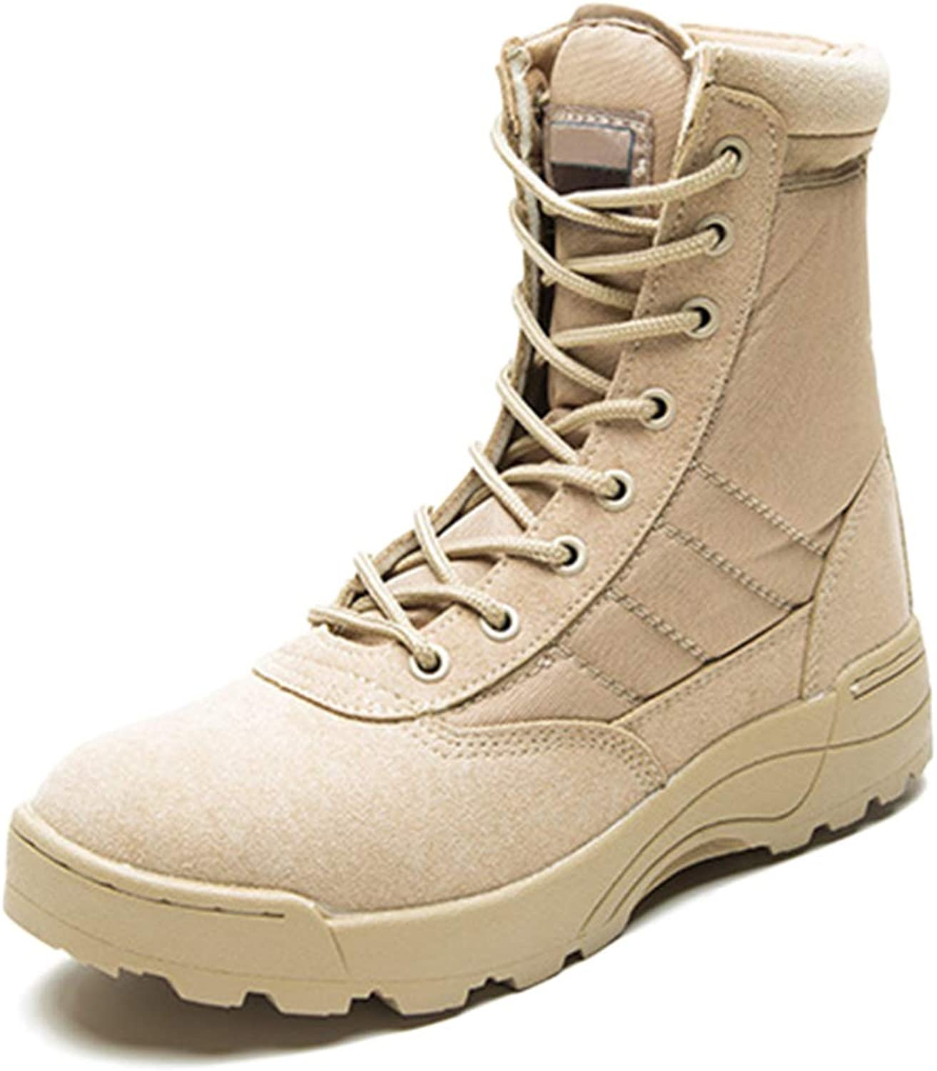 Yra Adult Army Boots Outdoor High Tops Martin Boots Men Leather Desert Boots Lace-Up shoes Hiking Hiking Footwear Unisex Large Size 37-45