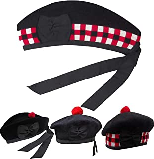 House of Highland 77 Mens Traditional Scottish Glengarry Cap Plain & Diced Piper Hat Black