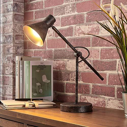 Lindby LED Tischlampe 'Zera' dimmbar (Retro, Vintage, Antik) in Braun aus Metall u.a. für Wohnzimmer & Esszimmer (1 flammig, E14, A+, inkl. Leuchtmittel) - Tischleuchte, Schreibtischlampe