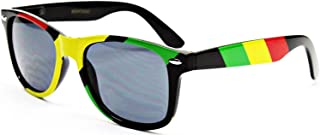 Rasta Stripes Square Sunglasses Jamaican Colors