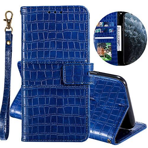 Miagon Krokodil Flip Hülle für Samsung Galaxy S10 Lite,Stilvoll PU Leder Wallet Tasche mit Standfunktion Magnetisch Brieftasche Bookstyle Schutzhülle,Blau