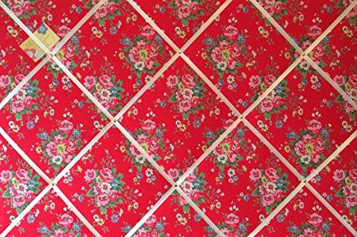 Très grand format 90 x 60 cm-Cath Kidston-Rouge-pied fait main en Tissu Folk Fleurs avis broches/Memo/mémoire