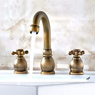 Bathroom Sink Faucet Antique Basin Three Hole Faucet, European Bathtub Dual Purpose Split Open Eight Inch Faucet, Pure Copper Hot And Cold.