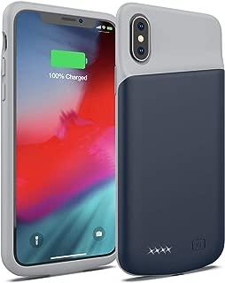 iPhone X/XS/10 4000mAhバッテリーケース、超スリムポータブル充電ケース、iPhone X/XS/10 4000mAh用充電式拡張バッテリーパック、保護バックアップ電源バンクカバー、5.8 インチ (ブルー