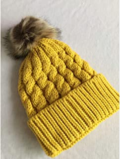 MZHHAOAN Knitted Hats for Women,Autumn and Winter Wooly Hat,Thick Warm Twist Hat,Curling Hair Ball Knit Hat