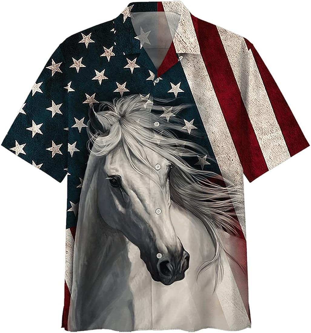 Horse America Hawaiian Shirts for Men - America Horse Button Down Mens Hawaiian Shirts Short Sleeve Series 111