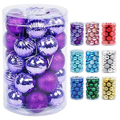 Lulu Home Christmas Ball Ornaments, 34 Ct Pre-Strung Xmas Tree Decorations, Holiday Hanging Balls Purple 1.57''