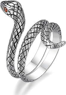 LEOBELLA ثعبان خواتم 925 الفضة الاسترليني الحيوان للنساء أمي بنات ثعبان خاتم مجوهرات خمر للرجال حجم قابل للتعديل