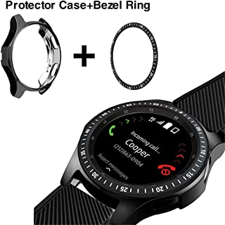 [2 Pack] JZK Samsung Galaxy Watch 42mm Bezel Ring Styling,Adhesive Cover Anti Scratch & Collision Protector Bezel Loop+Screen Protector Case for Galaxy Watch 42mm Smartwatch Accessories