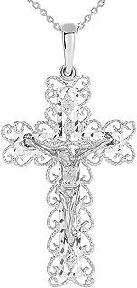 14k White Gold Fancy Filigree Religious Cross Jesus Crucifix Pendant Necklace