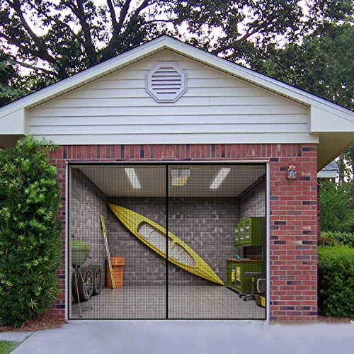 Eapele Garage Door Screen 9x7ft for 1 Car Garage, 300-Mesh Screen Keep Out Dust and Bugs Also Allow Fresh Air to Come Through, Strong Magnets Make Sure Snaps Shut Behind You