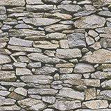 Papier peint pierre trompe l'oeil 95820-2 | Papier peint gris et beige rustique chic | Papier peint pas cher salon & salle à manger