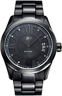 ساعة كلاسيكية فاخرة مرصعة بـ9 ماسات من جي بي دابليو للرجال اسود ايوني