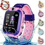Montre Intelligente Smartwatch, Montre téléphone pour Enfants pour Fille Garçon LBS Tracker Jeux/SOS/Alarm,Compatible iOS Android (Rose)