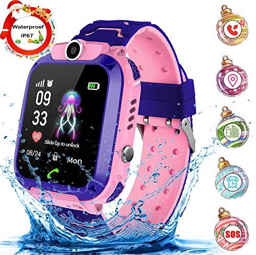 Jaybest Niños SmartWatch Phone -Niños Impermeable Smartwatch con rastreador de LBS con de Llamada SOS cámara Pantalla táctil Juego Smartwatch Childrens Gift(Rojo)