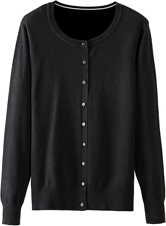 Rochalola Women's Crew Neck Gem Button Long Sleeve Soft Knitting Cardigan Sweaters(S-XXL)