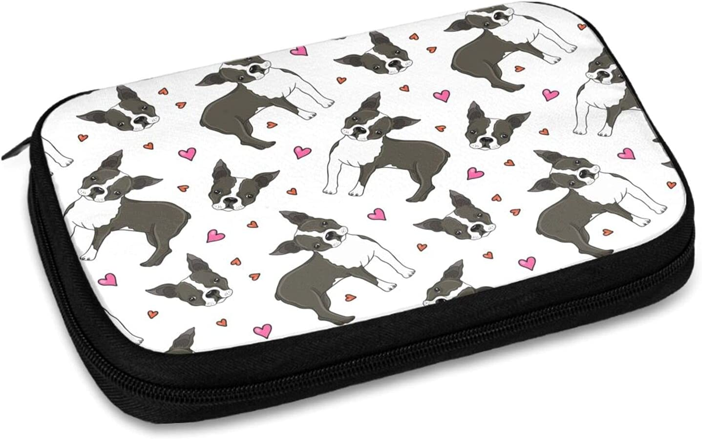 Boston-Terrier-and-Hearts Data Line Storage Bag Electronic Organizer Travel Universal Cable Organizer