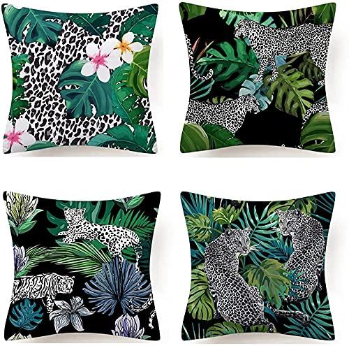 xiaojia Conjunto de 4 Hojas Funda de Almohada Funda de Almohada para sofá sofá sofá Dormitorio decoración para el hogar Hoja de jardín 45x45cm LuMingLiang